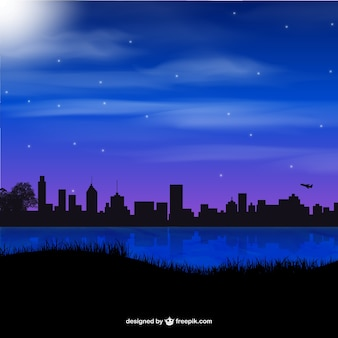 Silhouettes of night city