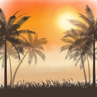Silhouettes of palm trees on a watercolor sunset