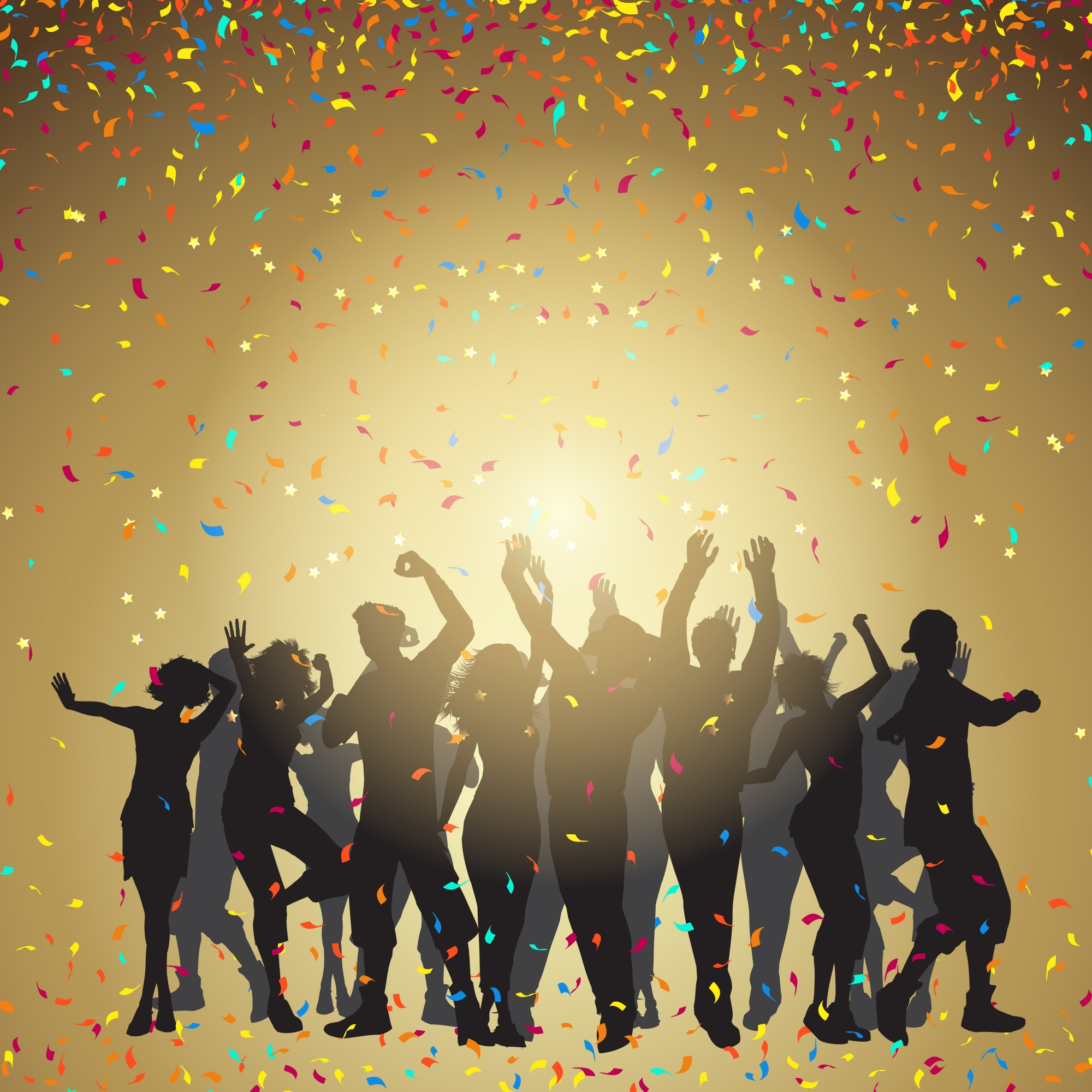 Silhouettes of people dancing on a confetti background