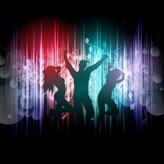 Silhouettes of people dancing on a music notes background