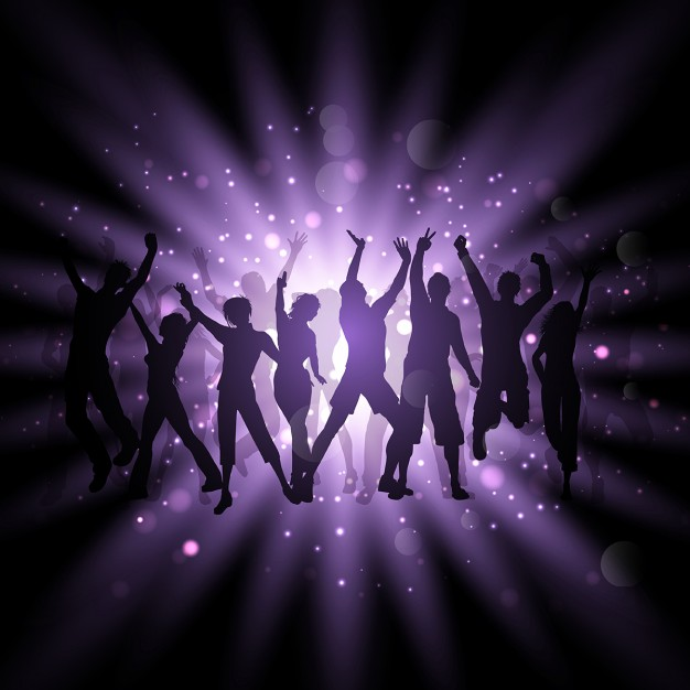 Silhouettes of people dancing on a purple background