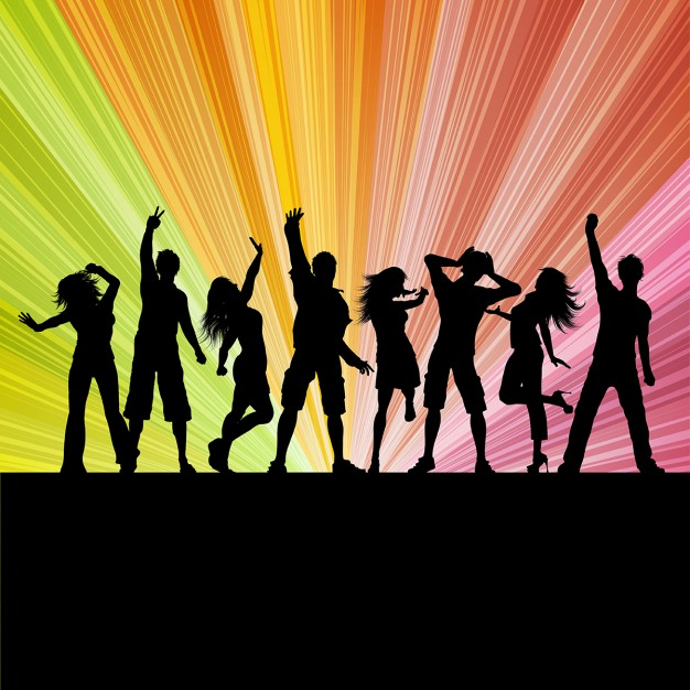 Silhouettes of people dancing on a starburst background