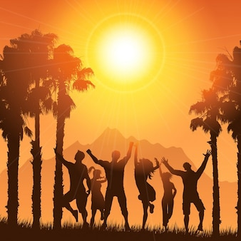 Silhouettes of people dancing on a tropical summer background
