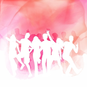 Silhouettes of people dancing on a watercolour background