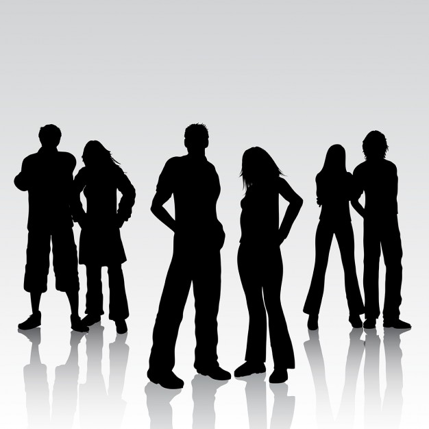 Silhouettes of people on a gray background