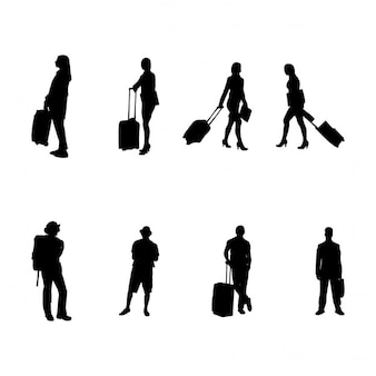 Silhouettes of people traveling