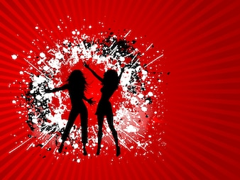 Silhouettes of two females on a grunge background