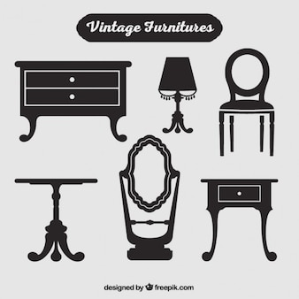 Silhouettes of vintage furniture