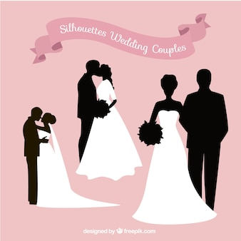 Silhouettes of wedding couples