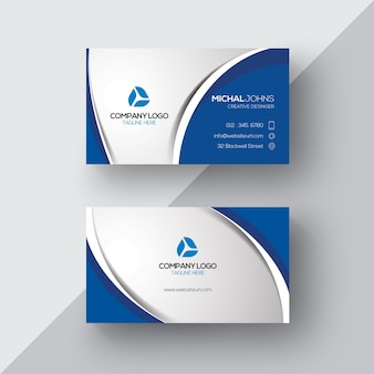 Silver and blue business card