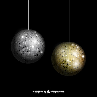 Silver and gold disco balls