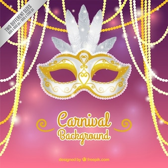 Silver and golden carnival mask background