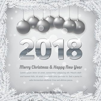 Silver background of merry christmas and new year 2018