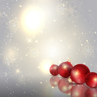 Silver background with red baubles