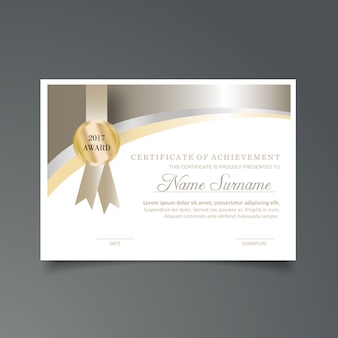 Silver certificate of achievement template