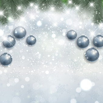 Silver christmas background with hanging baubles