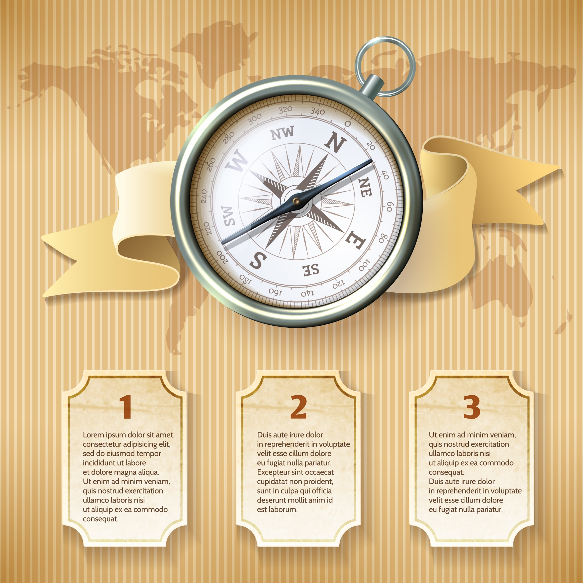 Silver compass infographic