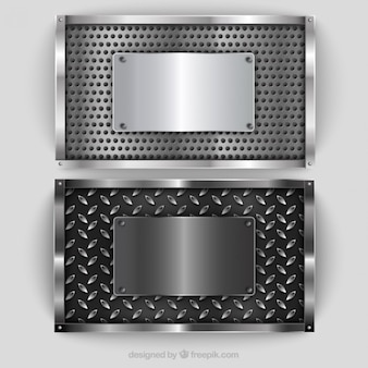 Silver metallic plaques pack