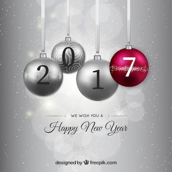 Silver new year baubles background