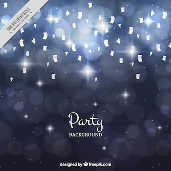 Silver party background with confetti