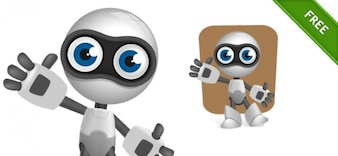Silver robot character vector illustration