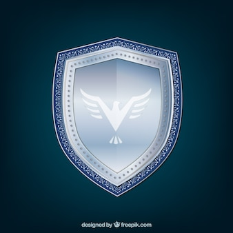 Silver shield background with eagle