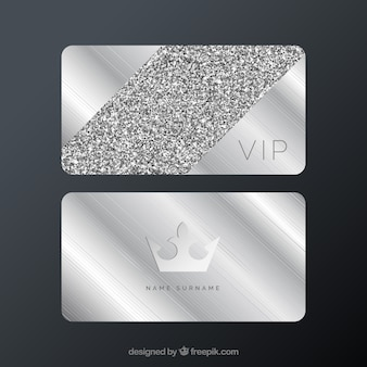 Silver vip cards with minimalist style