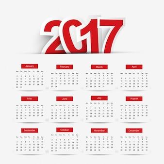 現代の2017年カレンダー