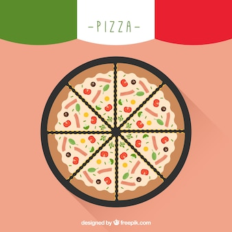 Simple background of tasty pizza