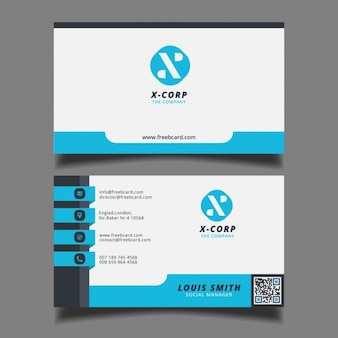 Simple blue, black and white card