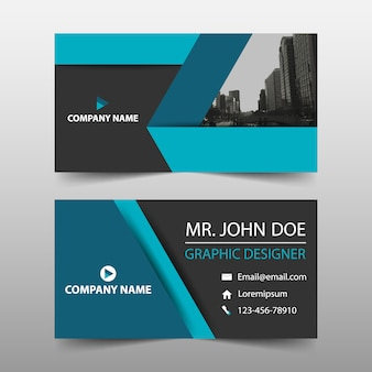 Simple business card, blue color