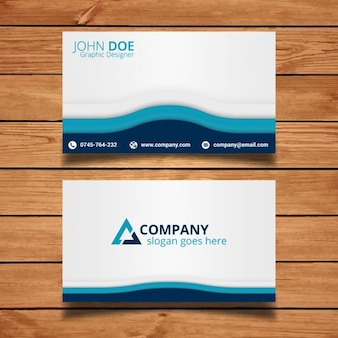 Simple business card on wood