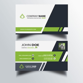 Simple business card with green and black shapes