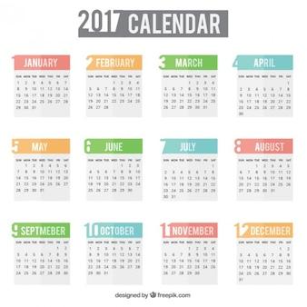 Simple calendar for 2017