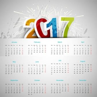 Simple calendar with fireworks