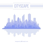 Simple cityscape background in blue color