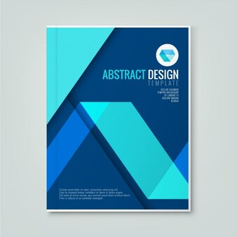 Simple corporate brochure template with blue geometric shapes