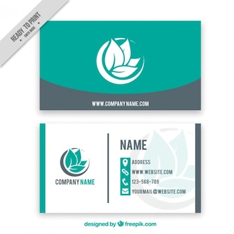 Simple corporative card with leaves