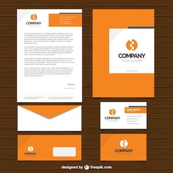 Simple design of business stationery in orange color