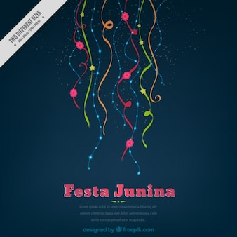 Simple festa junina background with colored streamers