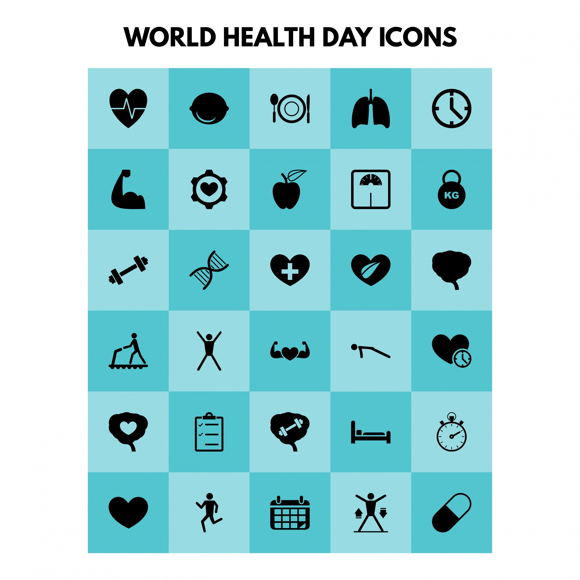 Simple health icons set