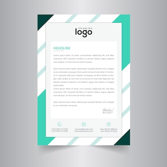Simple Letter Head Template With Cyan Color