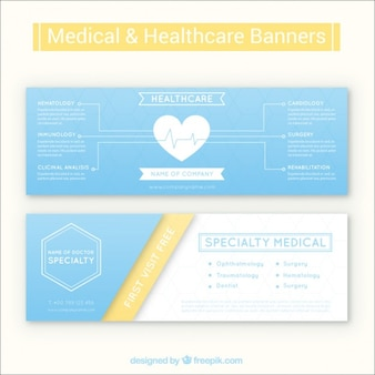 Simple light blue medical banners