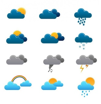 Simple weather forecast icons in blue