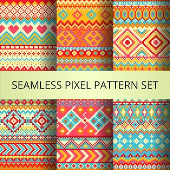 Six colorful pixel patterns