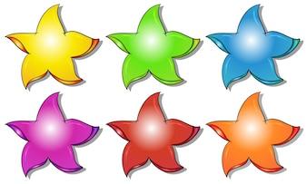 Six colorful stars