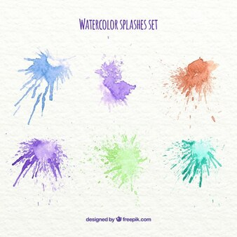 Six colorful watercolor splashes