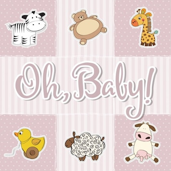 Six cute animals for baby shower