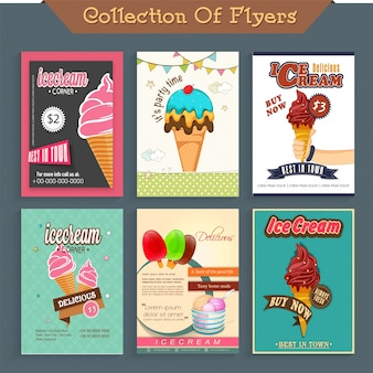 Six different Ice Cream flyers, template or price card design