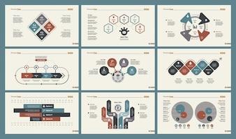 6つの経済チャートスライドテンプレートセット